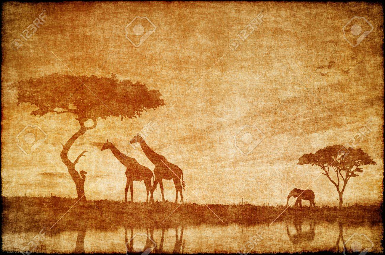 1300x863 Safari In Africa Drawing On Ald Paper Stock Photo, Picture