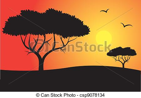 450x313 Safari Silhouette With Trees And Sun Eps Vector