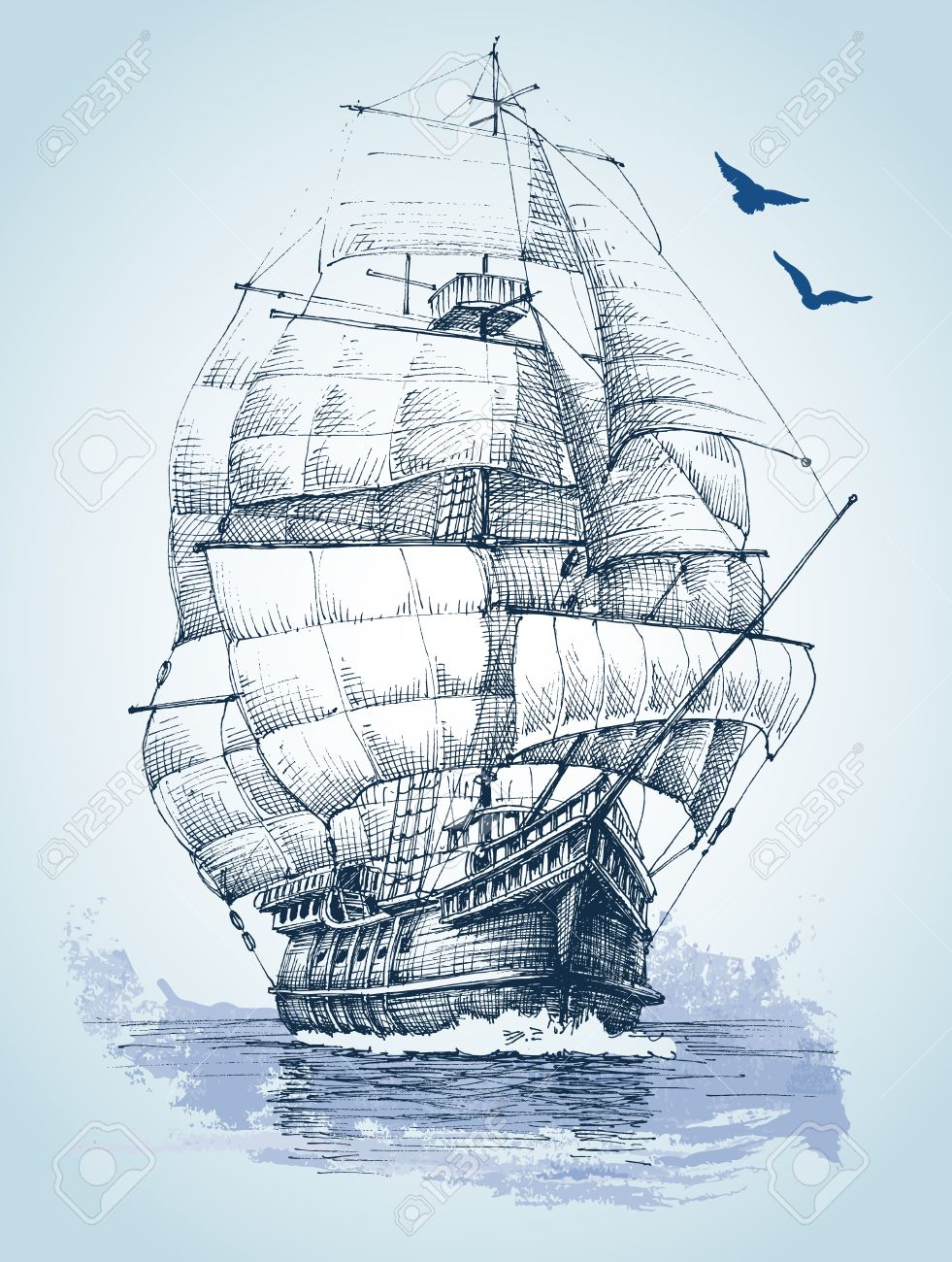 981x1300 Boat On Sea Drawing. Sailboat Vector Sketch Royalty Free Cliparts