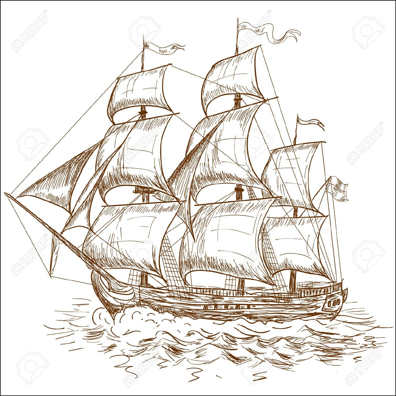1300x1300 Old Sailing Ship Drawings Ocean Sailing Ships