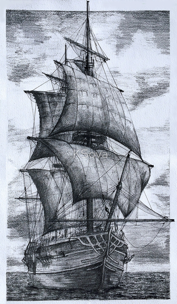583x1000 Old Ship Drawing By Ksova Redbubble