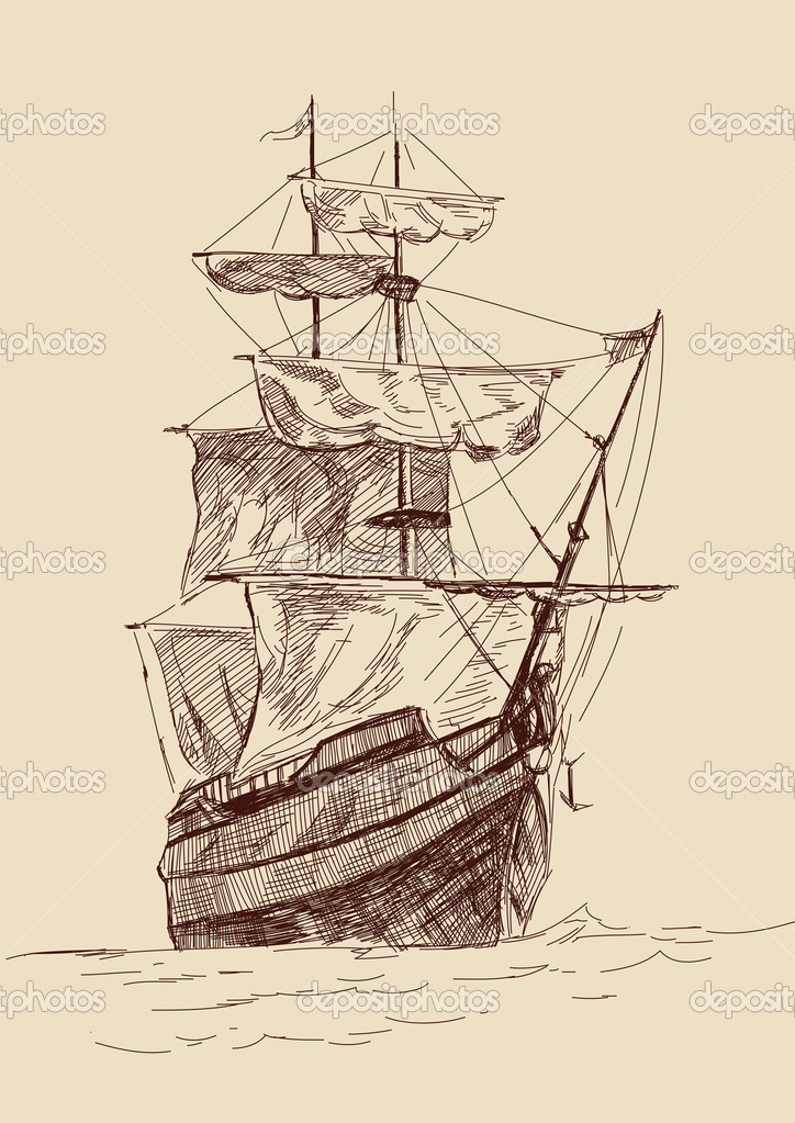 724x1023 Old Time Sailing Ship Clip Art Vintage Old Ships Illustration