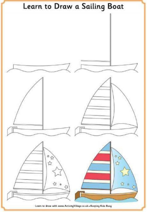 502x720 Drawing Sailing Boat For The Kids Sail Boats, Easy