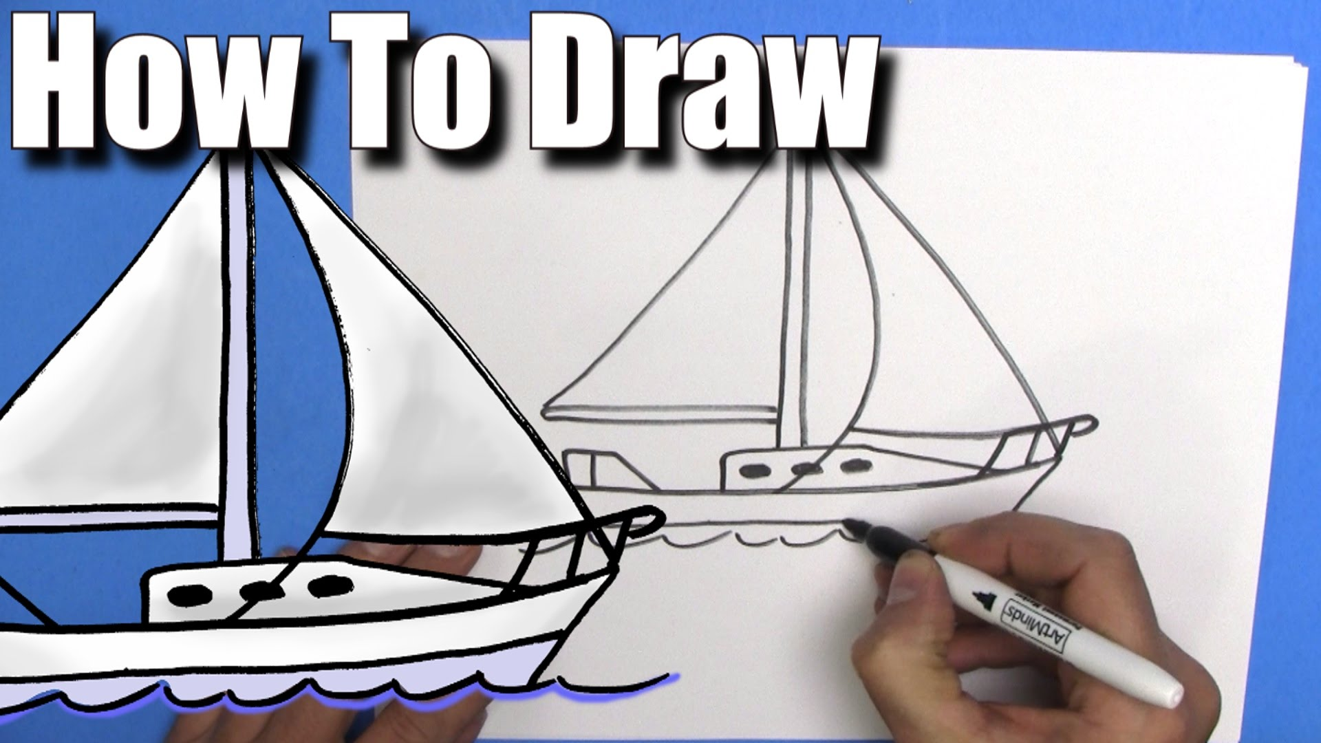 1920x1080 How To Draw A Sailboat Step By Step Easy