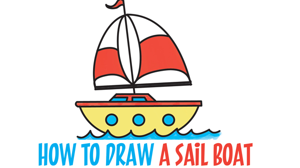 600x337 How To Draw A Cartoon Sailboat From The Letter B Shape Easy Step