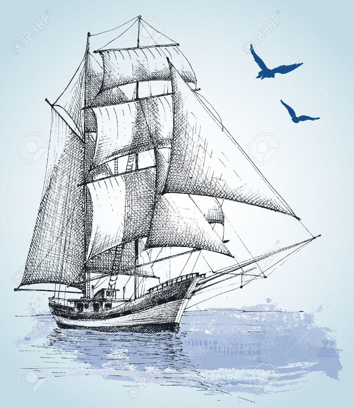 1126x1300 Boat Drawing. Sailboat Vector Sketch Royalty Free Cliparts