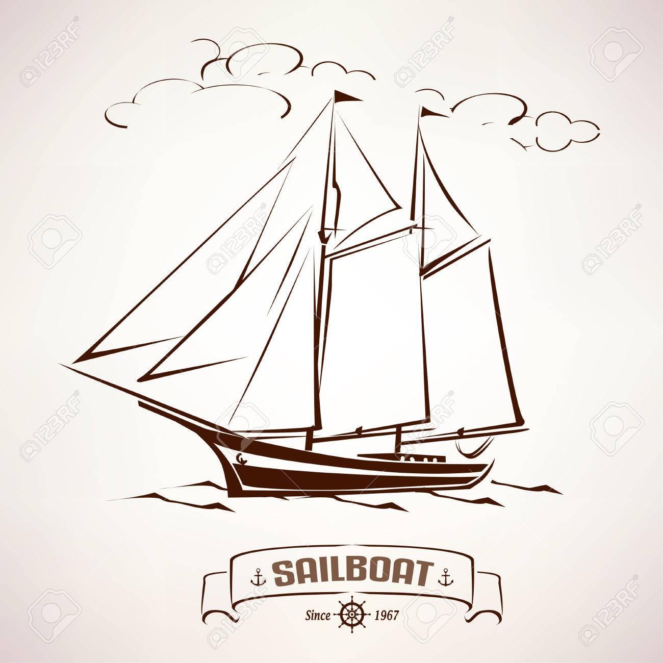 1300x1300 Sailboat, Vintage Wooden Ship Vector Sketch Royalty Free Cliparts