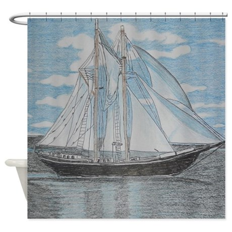 460x460 Sailboat Drawing Shower Curtains Cafepress