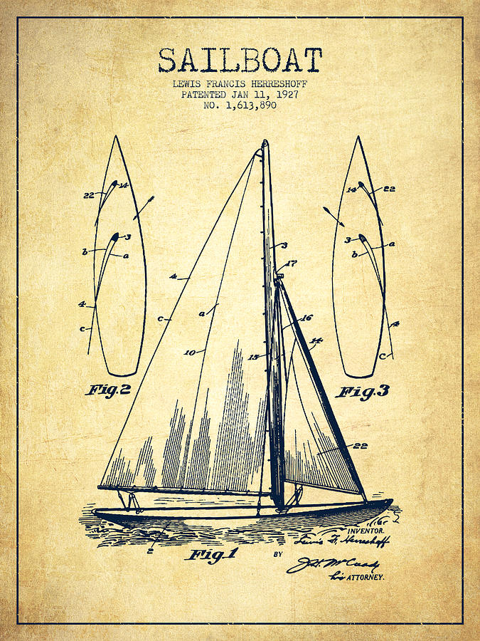675x900 Sailboat Patent Drawing From 1927