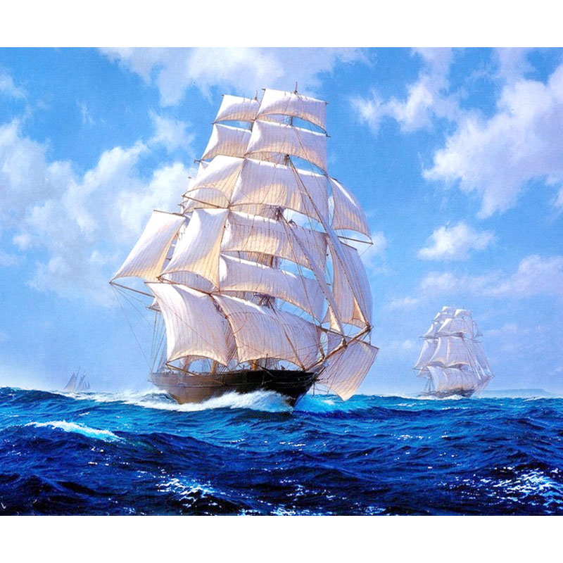 800x800 Sailboat Sea Scenery Drawing 5d Round Bead Embroidery Cross Beads