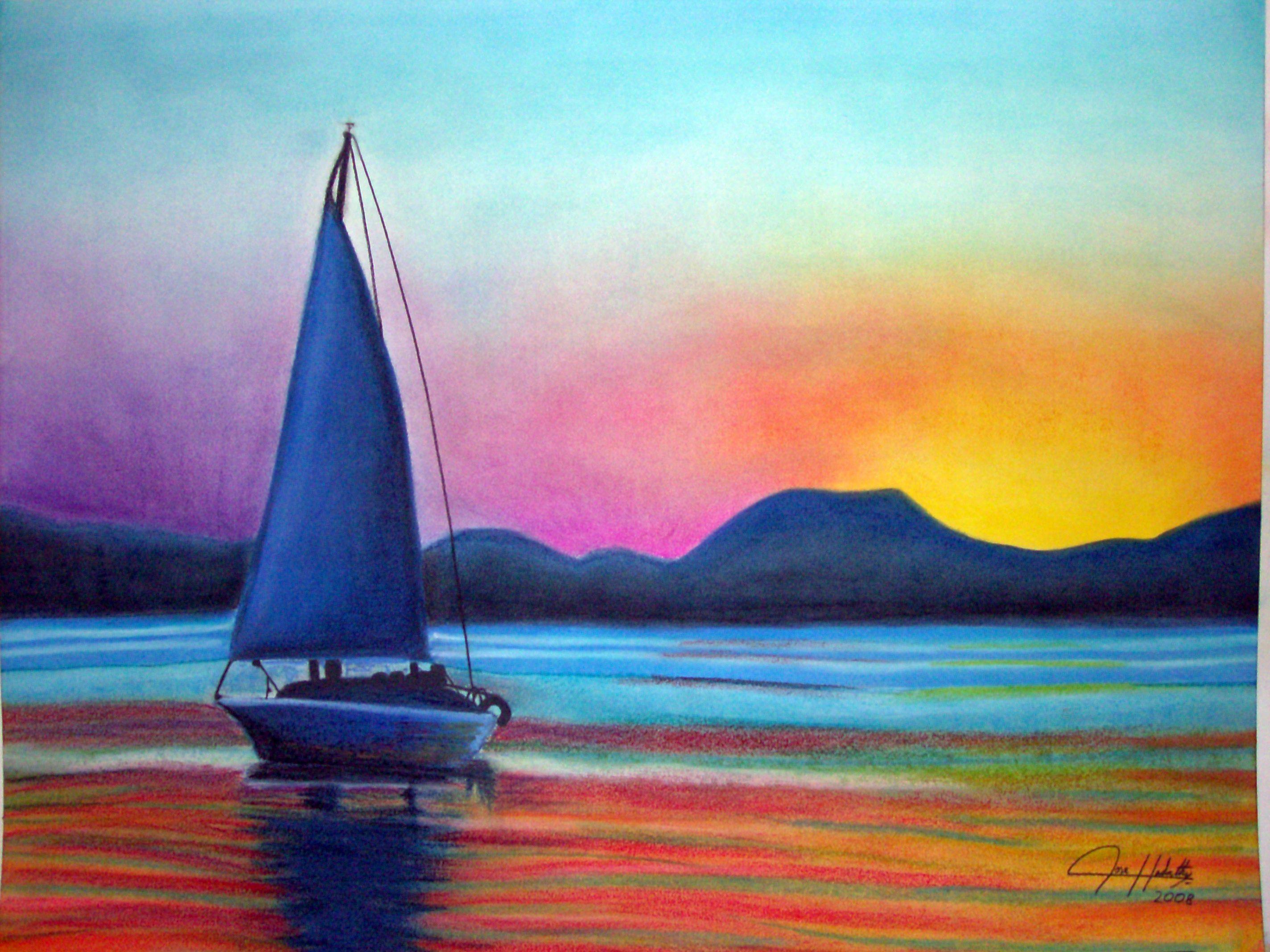 2848x2136 Sailboat Sunset Teen Pastel About Sunset, Sailboat, Drawing