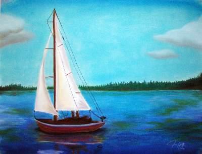 400x305 Sailing Teen Pastel About Drawing, Pastel, Lake And Sailboat