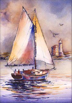 236x338 Water Color Sail Boats