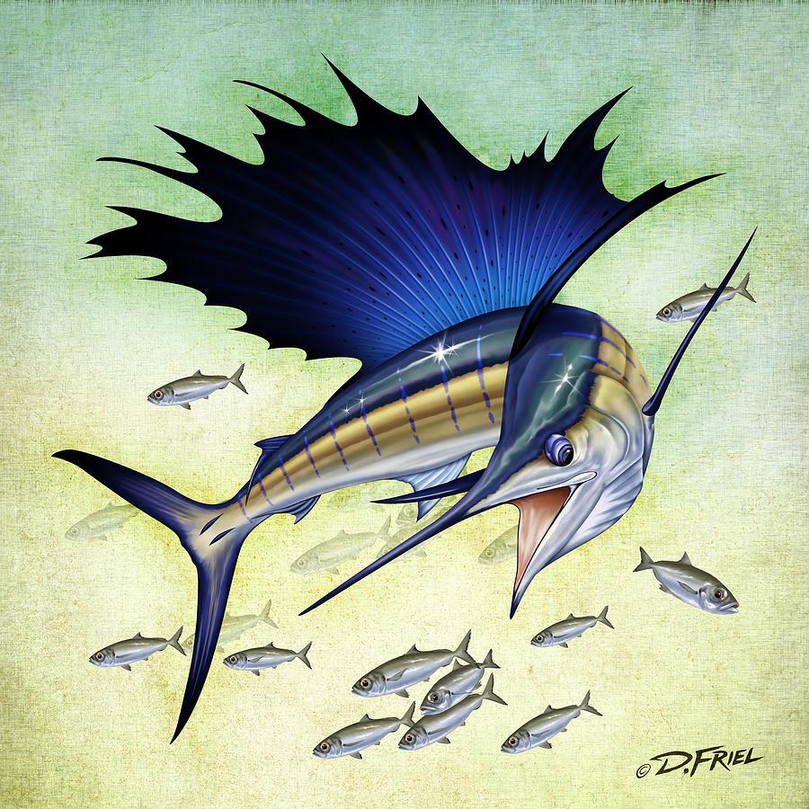 900x900 Goggle Eye Sailfish Drawing By Dennis Friel