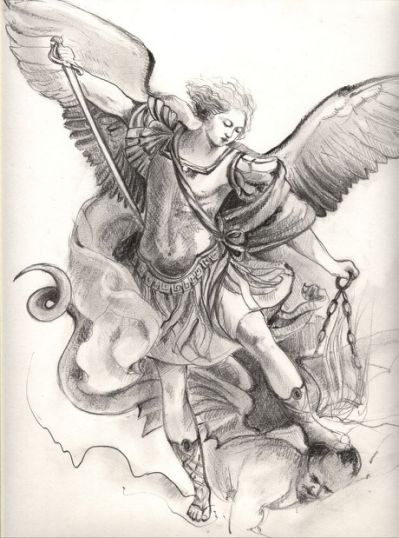 399x538 Pencil Drawing Of St. Michael