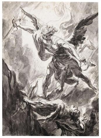 346x470 Saint Michael Archangel Slaying Satan Dbl Sided, Point