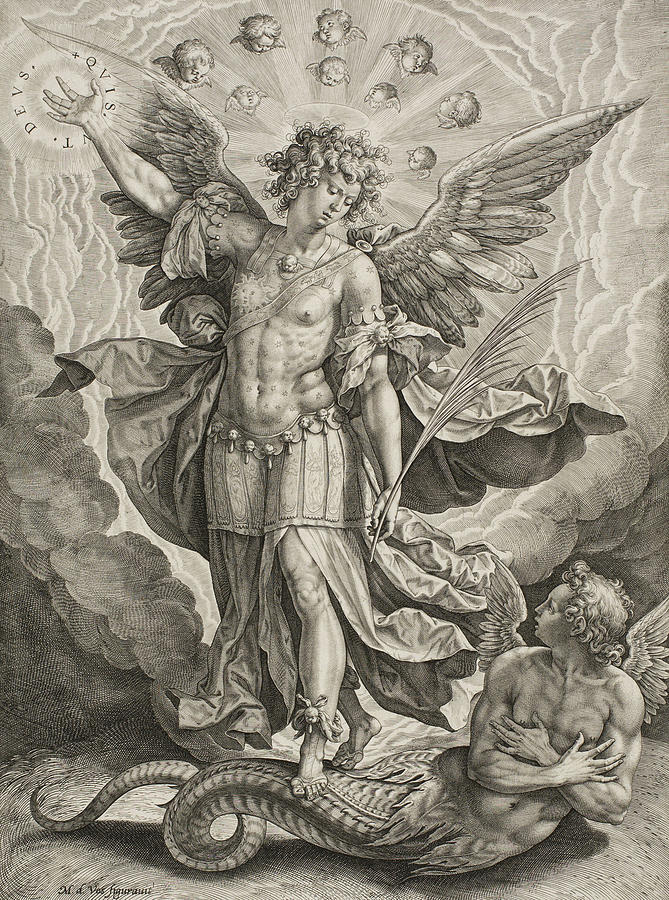 669x900 St Michael Triumphing Over The Dragon Drawing By Hieronymus