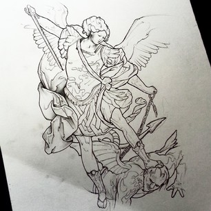 306x306 St Michael Statue Tattoo Drawing
