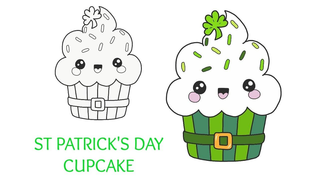 1280x720 St Patrick's Day Kawaii Cupcake Drawing Tutorial