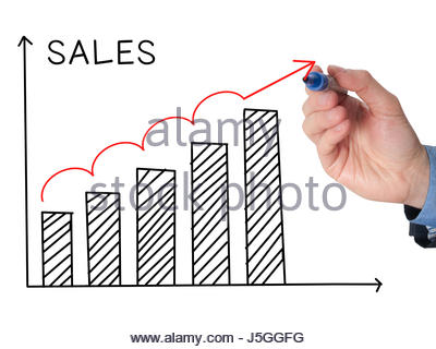 400x320 Businessman Hand Drawing Sales Growth Graph With Marker On Stock