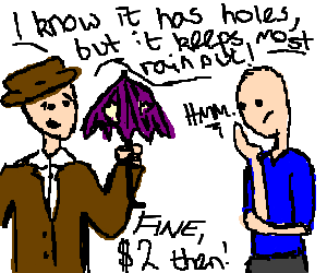 300x250 Salesman Trying To Sell Useless Object (Drawing By Mishmash)