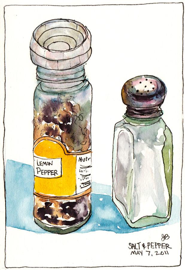 618x899 My Lemon Pepper And Salt Shaker, Ink Amp Watercolor, 5.5x7.5