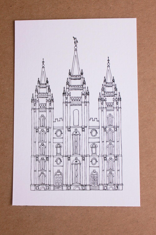 1000x1500 Salt Lake City, Utah Temple Line Drawing, Reproduction Utah