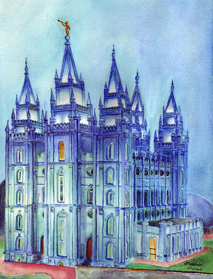 688x900 Salt Lake City Temple Painting By Matthew Marshall