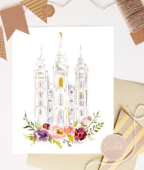 570x673 Salt Lake City Temple Watercolor By Sweetnsandy On Etsy