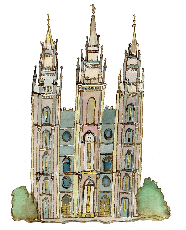 1214x1500 Salt Lake Temple Drawing Lds Mormon Temple Salt Lake City Utah 5x7