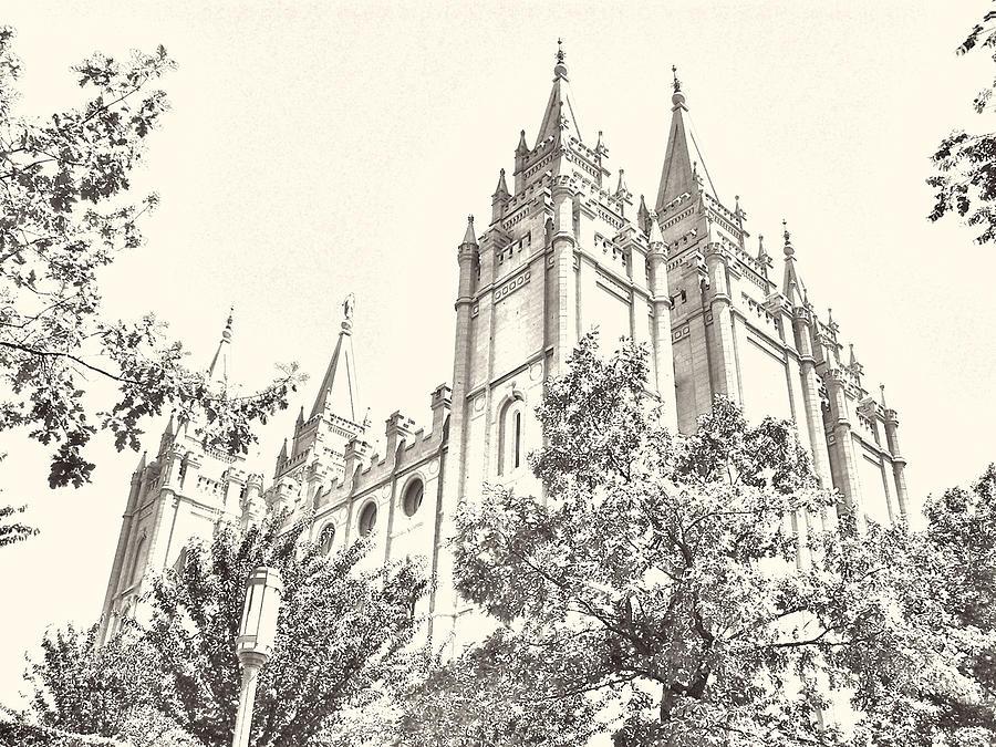900x675 Salt Lake Temple Sketch Photograph By Misty Alger