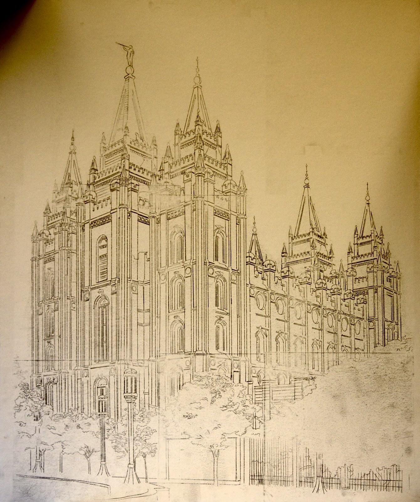 1340x1600 Shaun Anderson Fine Art Salt Lake City Temple Outline Drawing