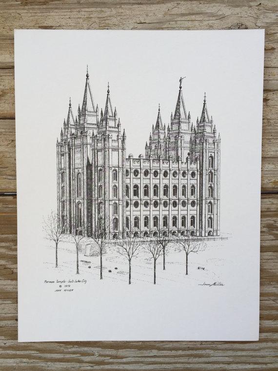 570x760 Vintage 1979 Mormon Temple Salt Lake City Utah Drawingprint