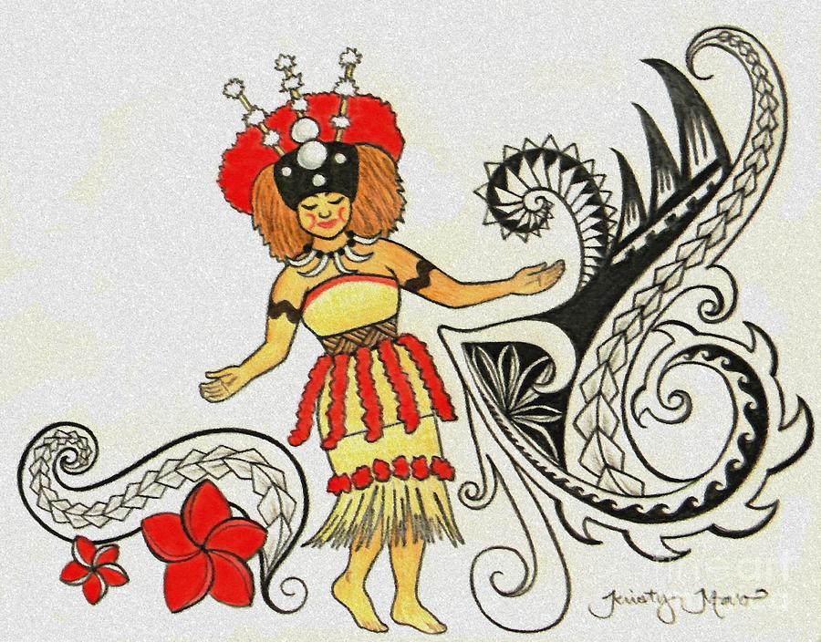900x704 Taupou Samoa Drawing by Kristy Mao