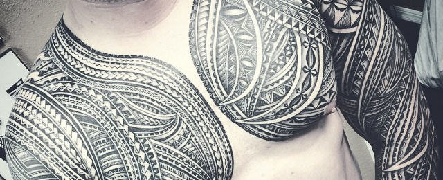 640x260 50 Polynesian Chest Tattoo Designs For Men