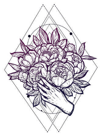 332x449 Drama Mask Hibiscus Sampaguita Flower Philippine Sun Tattoo