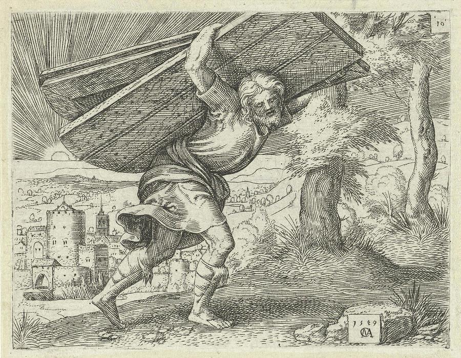 900x700 Samson Carrying The Gates Of Gaza, Print Maker Cornelis Drawing By