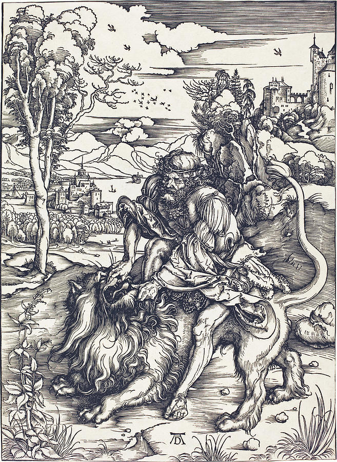 657x900 Samson Fighting With The Lion Drawing By Albrecht Durer