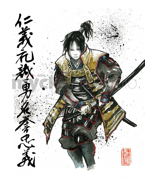 570x702 Print Samurai Drawing Sword With Japanese Calligraphy 7