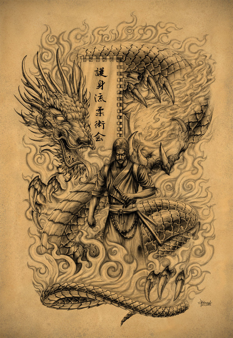 742x1077 Collection Of Samurai Dragon And Sword Tattoo Design