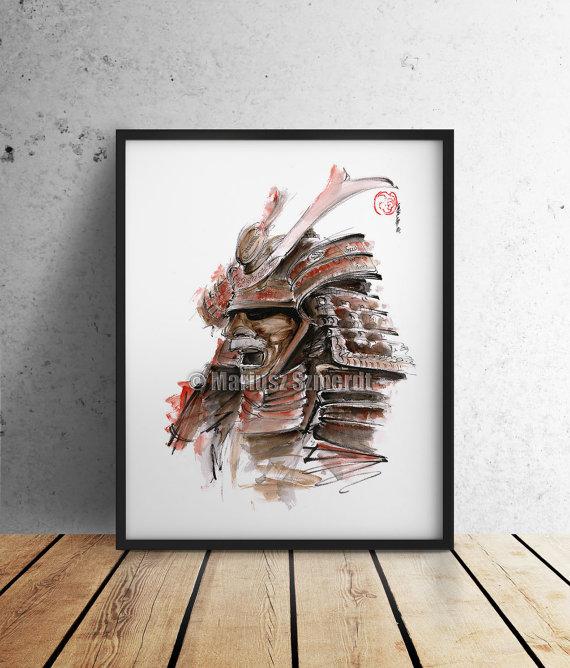 570x668 Samurai Armour Japanese Warrior Mask Drawing Japan Style