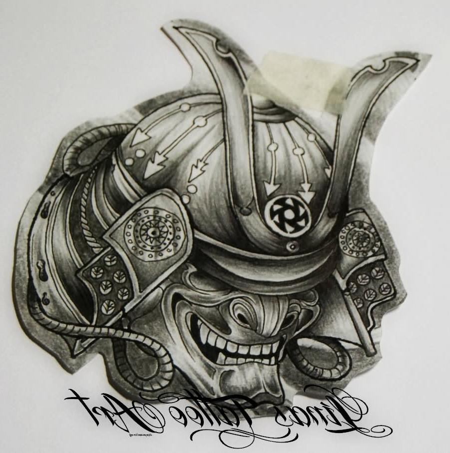 901x907 Samurai Helmet Tattoo Designs