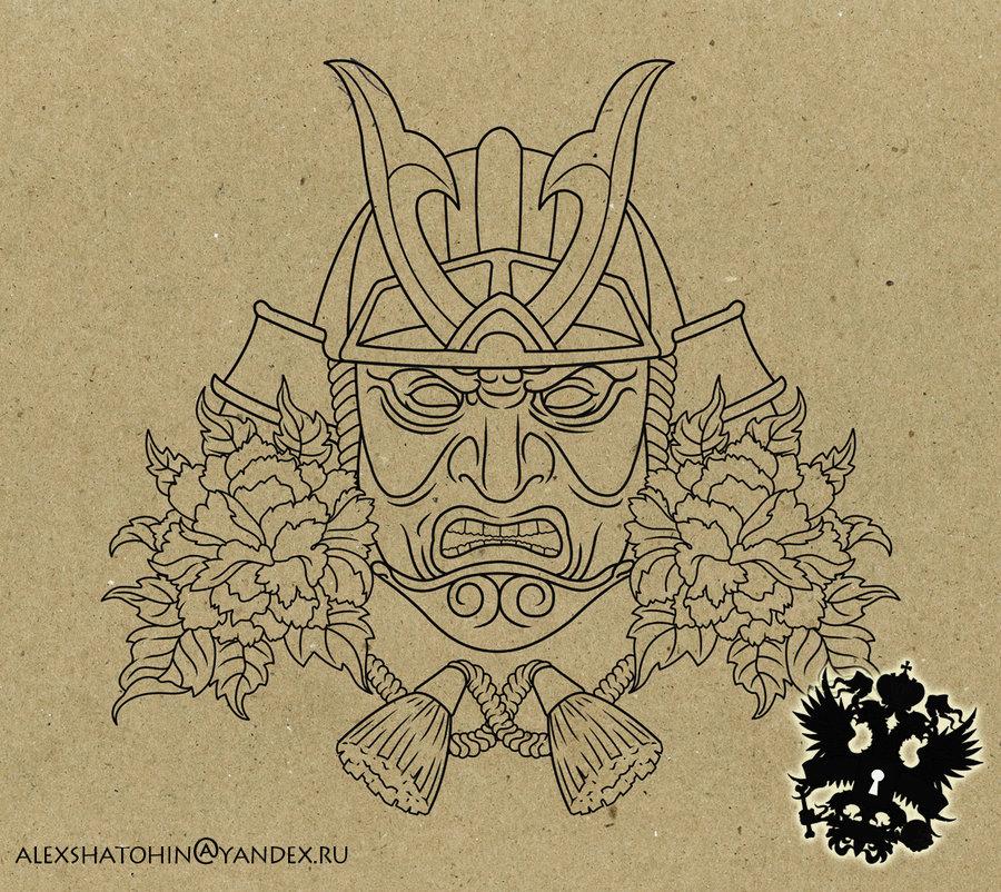 900x802 Samurai Mask Outline By Tattoo Ideas