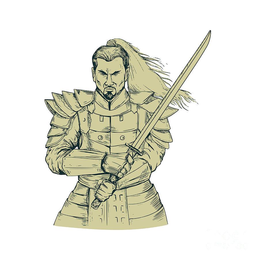 900x900 Samurai Warrior Swordfight Stance Drawing Digital Art By Aloysius