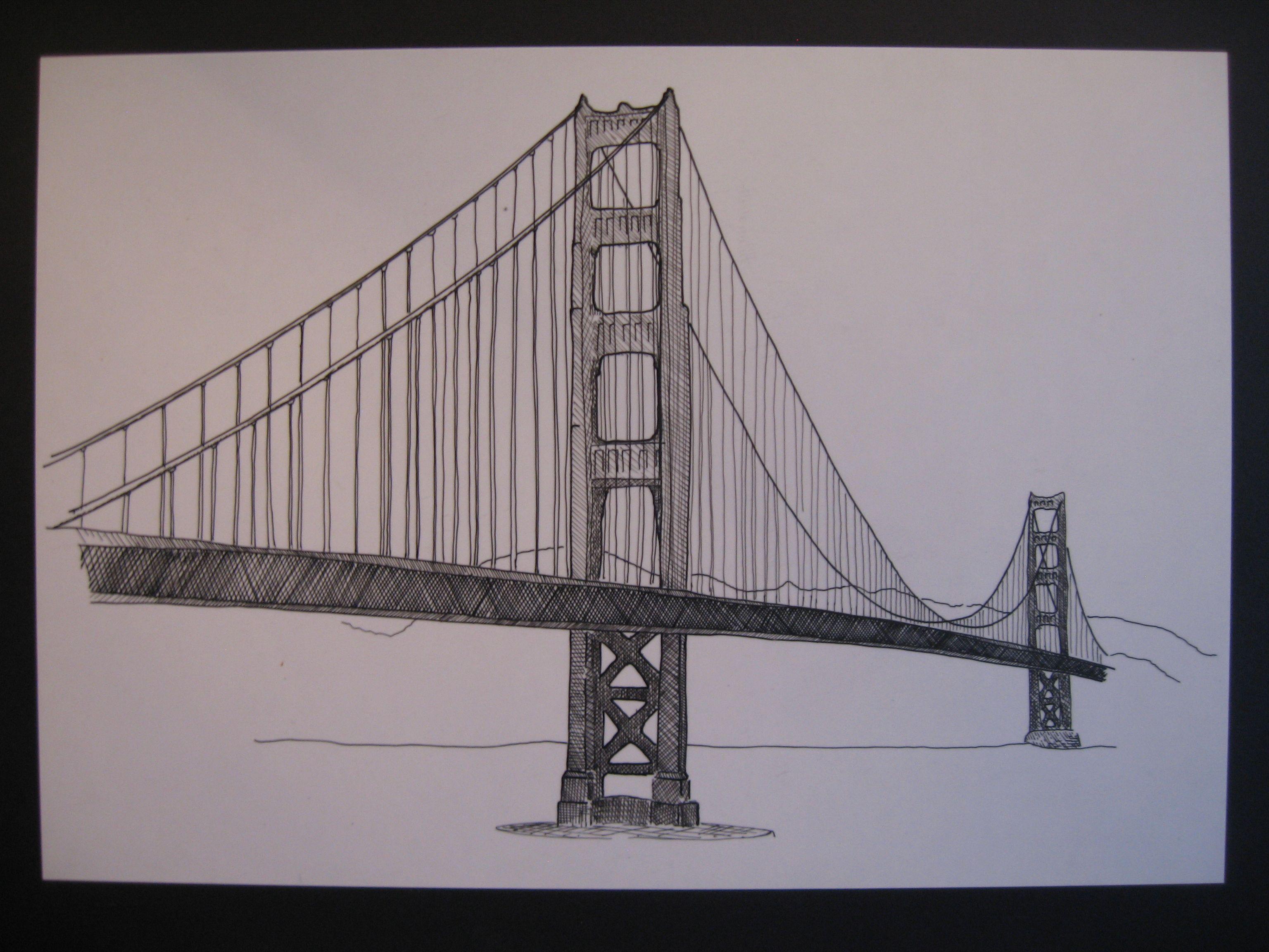 3072x2304 Gate Bridge Drawing
