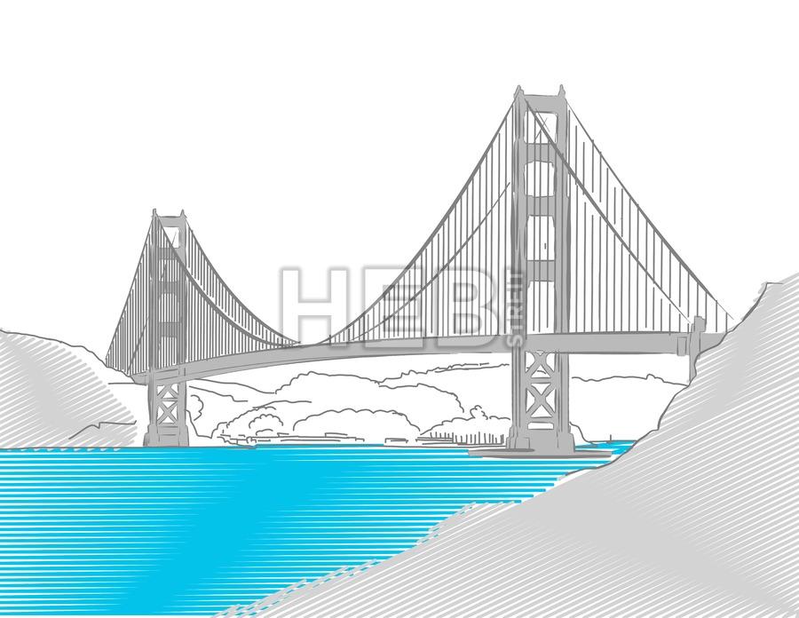 900x696 Golden Gate Bridge, San Francisco, Colored Sketch Hebstreits