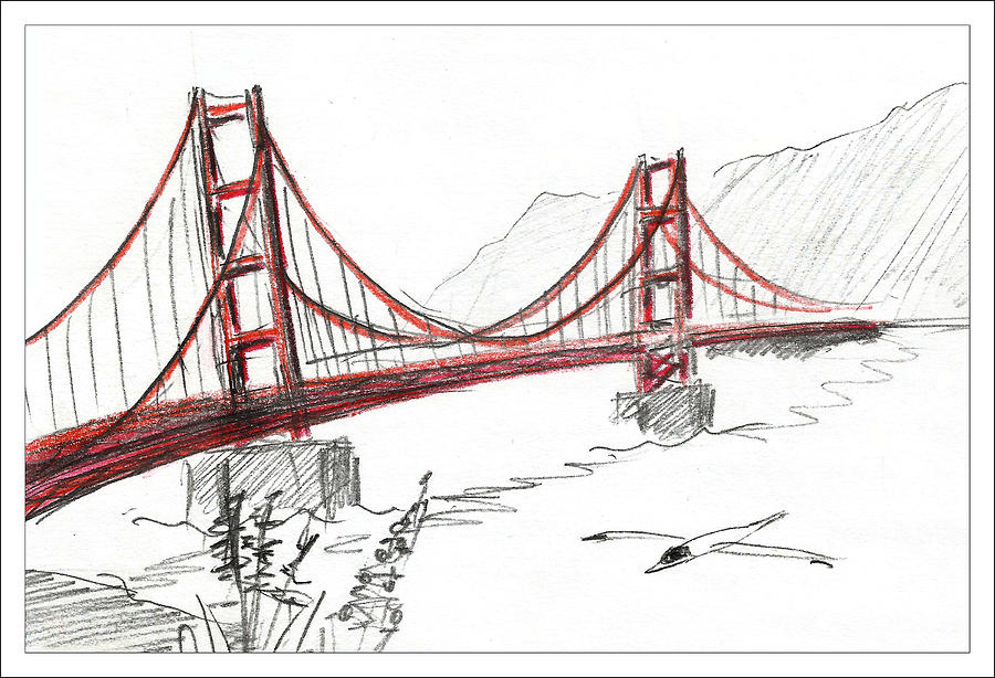 900x614 Golden Gate Bridge Drawing By Masha Batkova