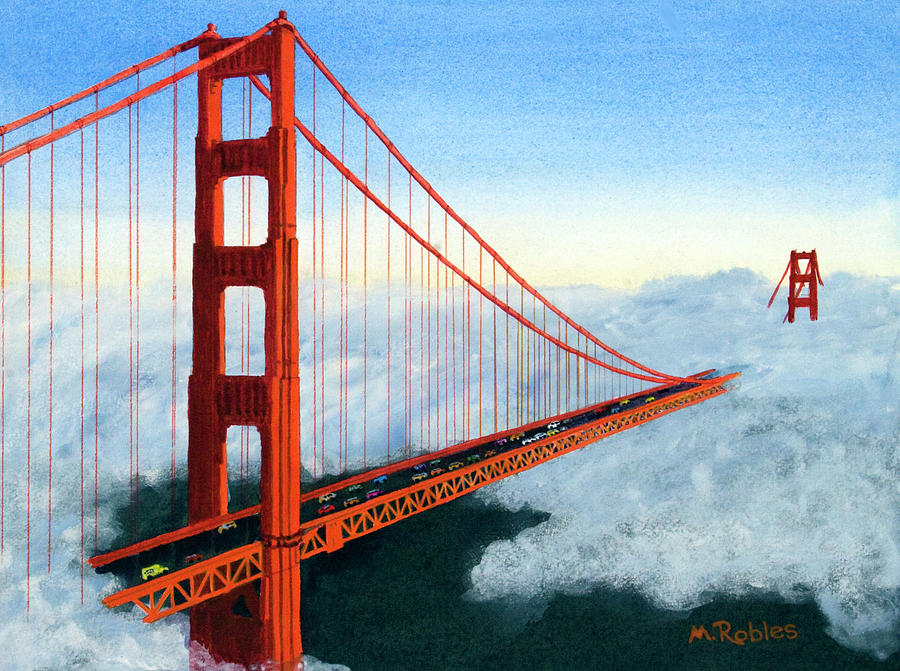 900x671 Golden Gate Bridge Sunset Painting By Mike Robles