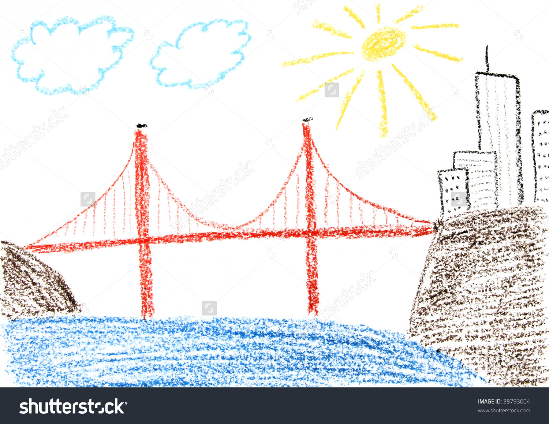 1500x1158 San Francisco Bridge Drawing Child Drawing Golden Gate Bridge San