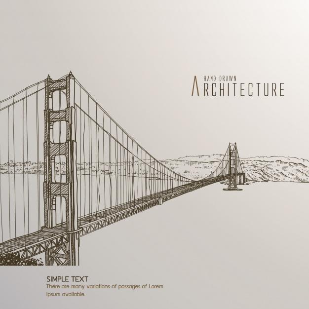 626x626 San Francisco Bridge Hand Drawn Vector Free Download